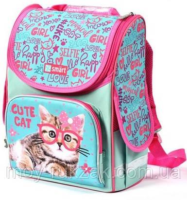"""Рюкзак школьный ортопедический, каркасный, «1 Вересня Smart» PG-11 """"Cute Cat"""" 558052"""