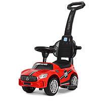 Машинка с магнитолой толокар каталка с родительской ручкой подставка для ног «Mercedes-AMG» M 4074L-3 Красный