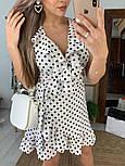 Сукня біле в горошок з рюшами на запах літо, фото 3