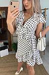 Сукня біле в горошок з рюшами на запах літо, фото 2
