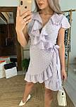 Платье сиреневое в горошек с рюшами на запах лето, фото 3