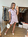 Платье сиреневое в горошек с рюшами на запах лето, фото 2