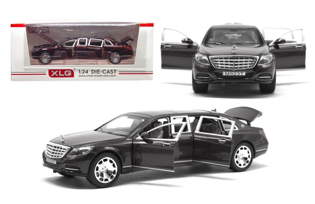 Машинка металлическая Mercedes-Maybach S600 Pullma (черная)