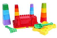Детская игрушка для песка Технок набор строительных элементов «Крепость», 26 элементов
