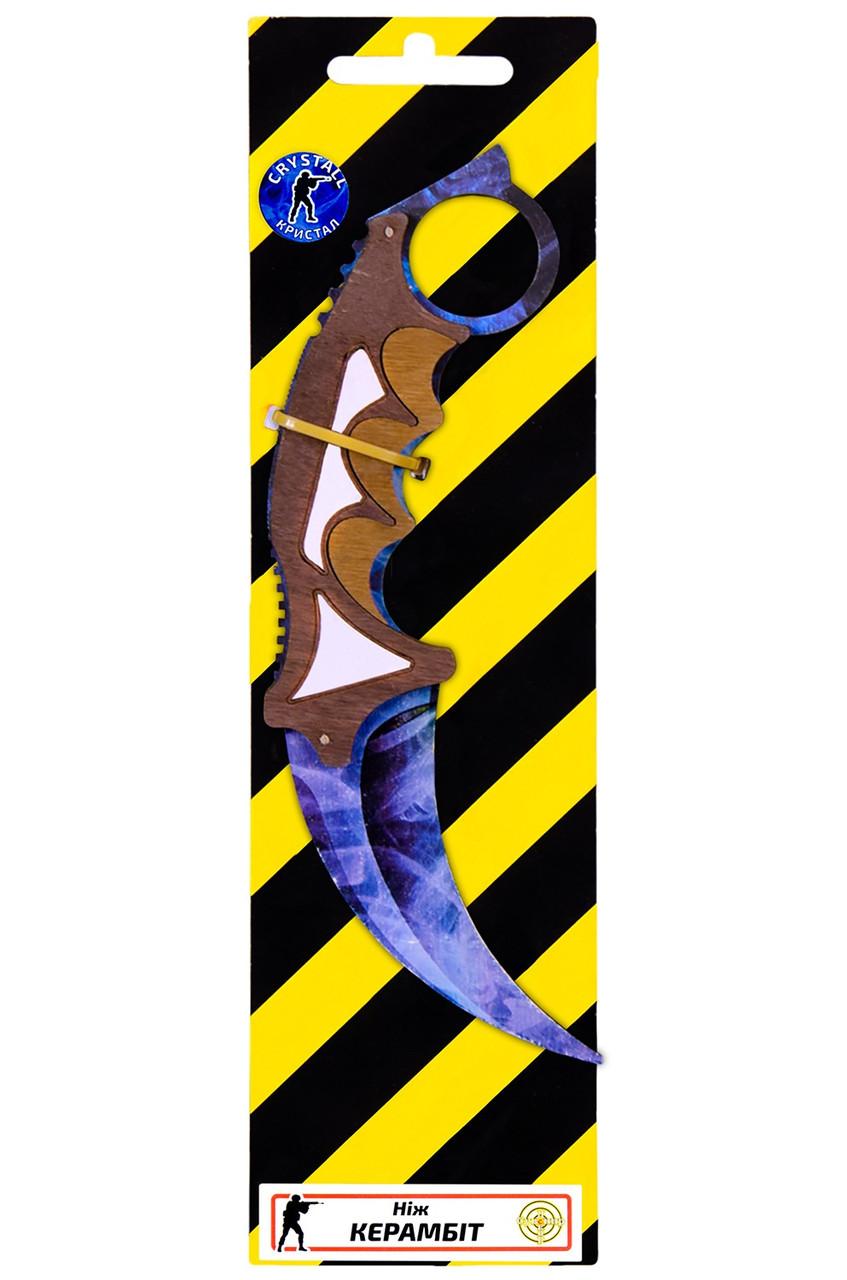 Деревянный нож керамбит из игры Counter Strike Синий кристал