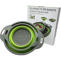 Дуршлаг силиконовый складной большой + маленький Collapsible filter baskets JM-611 (SILICON 2 IN 1)