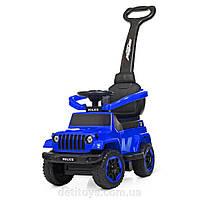Машинка толокар каталка с родительской ручкой подставка для ног «Jeep Wrangler M 4288-4 Синий  Джип