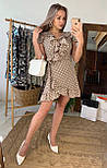 Платье бежевое в горошек с рюшами на запах лето, фото 2