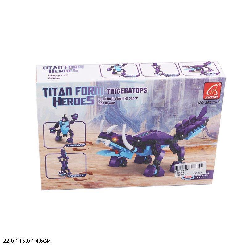 Конструктор Робот-динозавр: Трицератопс, 118 деталей