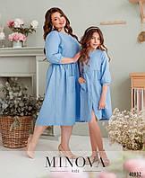 Платье лен детское летнее дочка мама ( отдельно и комплектом)