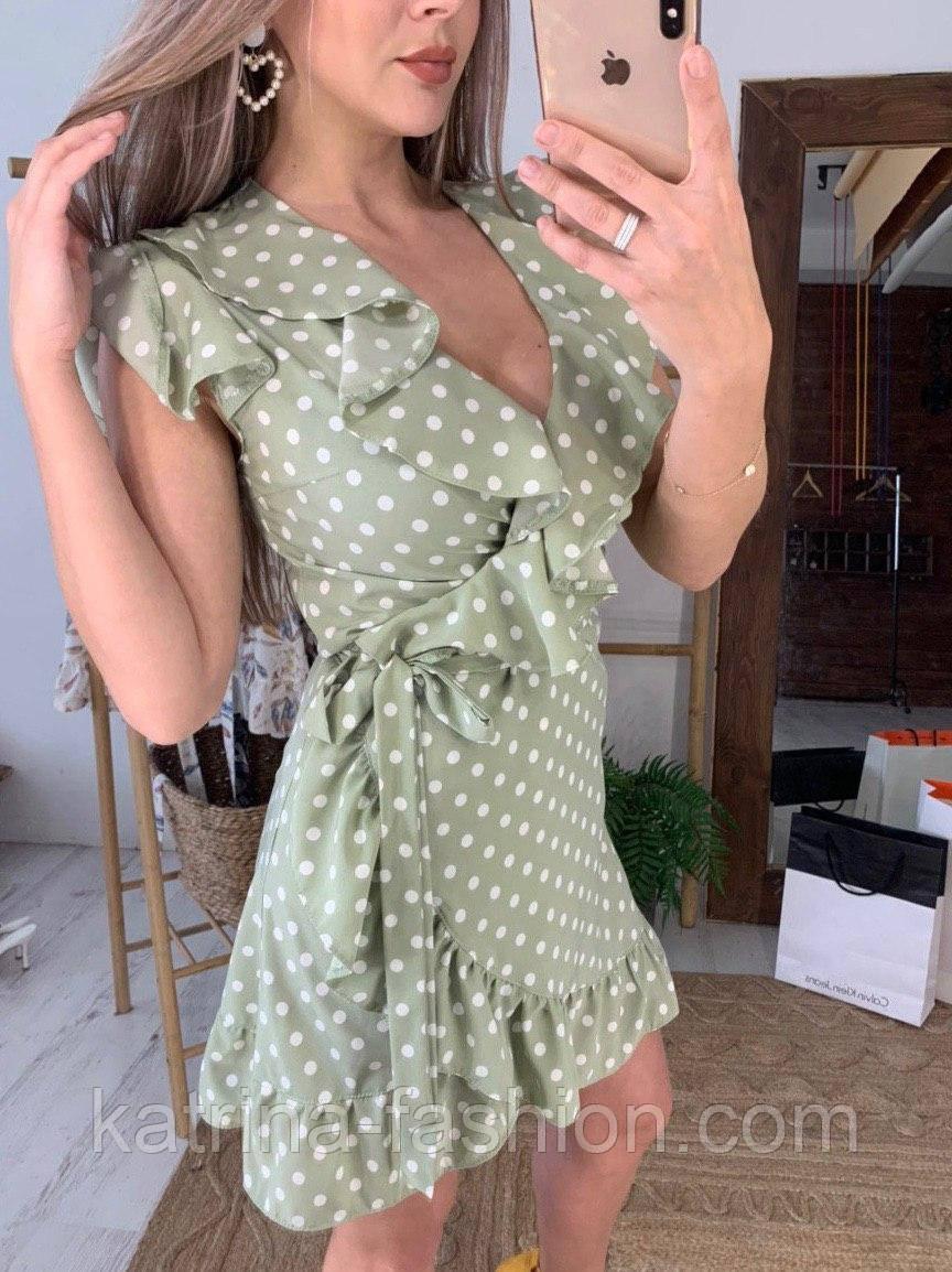 Сукня зелене(оливкова) в горошок з рюшами на запах літо