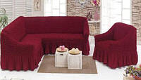 Чехол на угловой диван и одно кресло (бордовый) ТМ Demfirat Karven