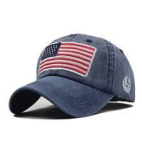 Кепка бейсболка флаг Америка (USA) Синяя 2, Унисекс, фото 1