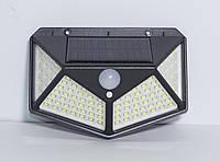 Настенный светильник с солнечной батареей и датчиками движения и освещенности. 100LED, 3 режима.