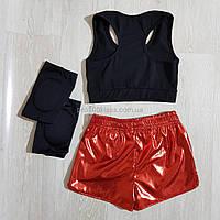Спортивный комплект одежды: топ+шорты+наколенники. Подростковый спортивный комплект одежды для девочек
