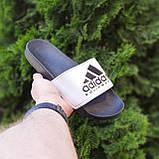 🔥 Шлепанцы мужские Adidas Чёрные с белым, фото 7