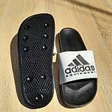 🔥 Шлепанцы мужские Adidas Чёрные с белым, фото 4