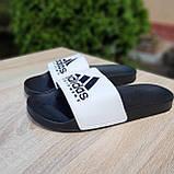 🔥 Шлепанцы мужские Adidas Чёрные с белым, фото 3
