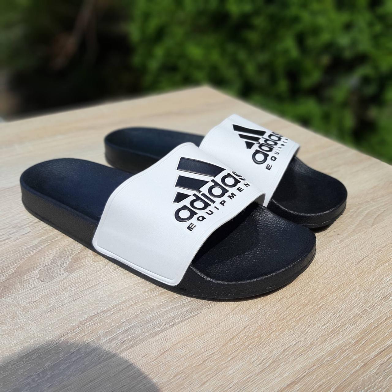 🔥 Шлепанцы мужские Adidas Чёрные с белым