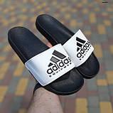 🔥 Шлепанцы мужские Adidas Чёрные с белым, фото 2
