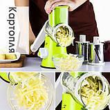 Овощерезка мультислайсер Tabletop Drum Grater Kitchen Master Терка для овощей и фруктов, 3 насадки, фото 5
