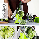 Овощерезка мультислайсер Tabletop Drum Grater Kitchen Master Терка для овощей и фруктов, 3 насадки, фото 6