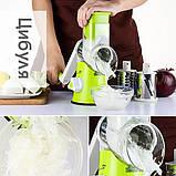 Овощерезка мультислайсер Tabletop Drum Grater Kitchen Master Терка для овощей и фруктов, 3 насадки, фото 7