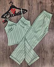 Женская атласная пижама с штанами и майкой зеленого цвета, женская атласная пижама, размер S