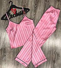 Женская атласная пижама с штанами и майкой розового цвета, женская атласная пижама, размер S