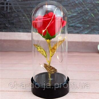 Вечная роза. Роза в колбе с LED подсветкой, ночник МАЛЕНЬКАЯ КРАСНАЯ №A54