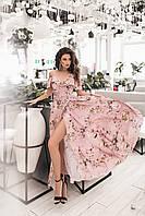 Летнее женское платье в пол на запах из легкой ткани софт, размеры 42-46