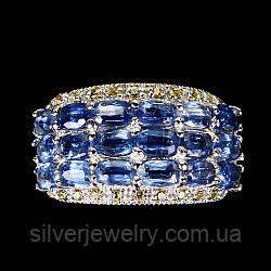 Серебряное кольцо с КИАНИТОМ (натуральный!!), серебро 925 пр. Размер 17