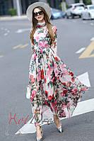 Платье Dolce&Gabbana из шелковой вуали с розами, с шарфом. Люкс качество