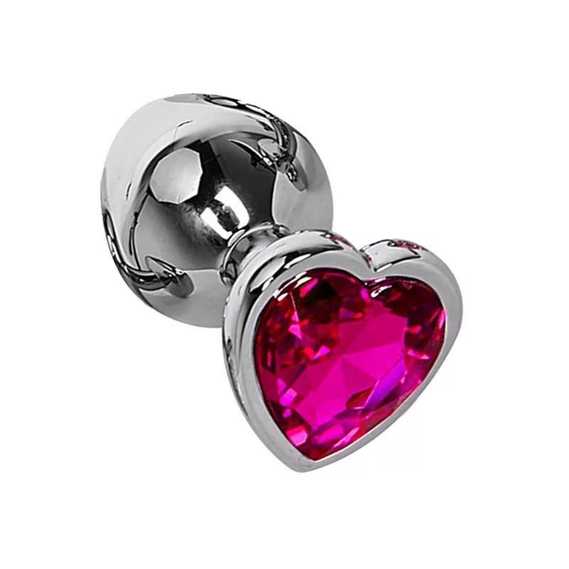 Металлическая пробка серце S с малиновым стразом в чехле 2.8*7.5 см для анального секса Маленькая