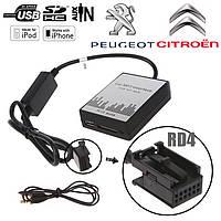 USB AUX MP3 адаптер для штатной магнитолы Peugeot Citroen RD4 эмулятор CD чейнджера