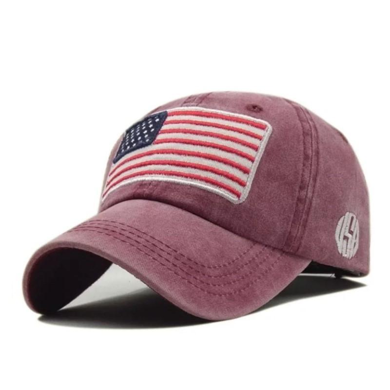 Кепка бейсболка флаг Америка (USA) Красная, Унисекс