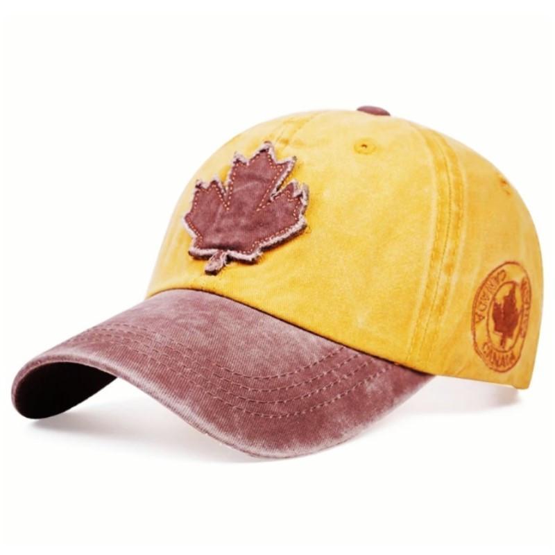 Кепка бейсболка Canada (кленовый лист) Желтая 2, Унисекс