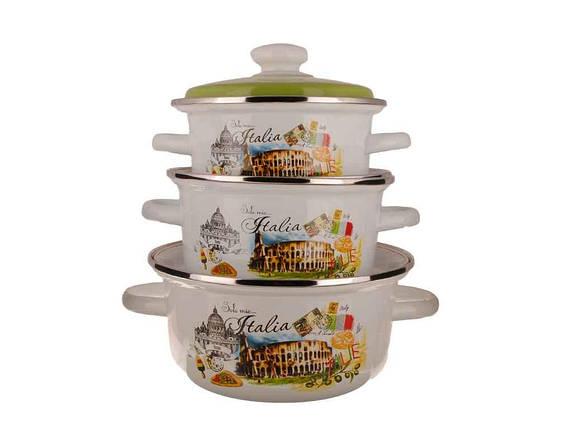 """Набор эмалированной посуды 3 предмета №93 Римские каникулы """"Idilia"""", фото 2"""