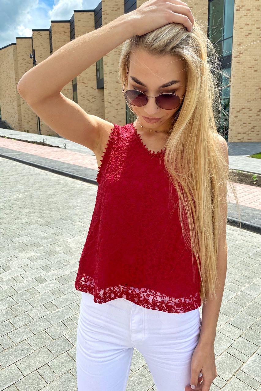Летняя блузка без рукавов Rong Rong - бордо цвет, S (есть размеры)