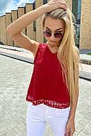 Летняя блузка без рукавов Rong Rong - бордо цвет, S (есть размеры), фото 1