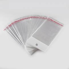 Пакет с Клеевым Клапаном, с подвесом, Прозрачный, Размер: 10х4см, пленка 0.023мм, Отв 6мм, (УТ100005400)