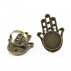 Основа для кольца металл, винтаж, под кабошон, Цвет: Бронза, Размер: Диаметр 17мм, Размер Основы: 18мм, 2 шт