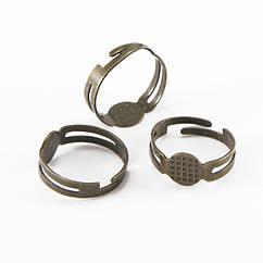 Основа для кольца, Латунь, с платформой под кабошон, Цвет: Бронза, Размер: Диаметр 17мм, Размер Основы: 8мм,