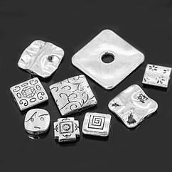 Бусины Monisto Металлический Сплав 10-22x10-22x2-7мм Цвет: Античное Серебро 10шт