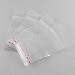 Пакет с Клеевым Клапаном, с подвесом, Прозрачный, Размер: 10x5см, Внутренний размер: 5.5x5см, (УТ100011394)