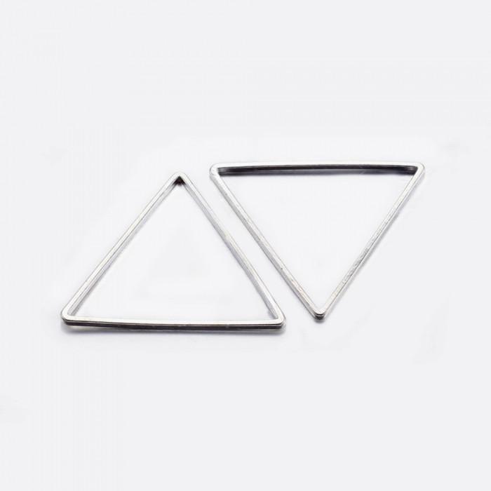 Коннектор Треугольник, Латунь, Цвет: Серебро, Размер: 17.5x20x0.8мм, Внутренний Диаметр 15.5x17.5мм/ Упак.: 20 шт
