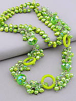 Бусы женские на шею из натуральных камней Жемчуга и Чешского хрусталя зелёного цвета длина 80 см