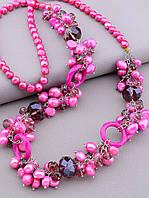 Бусы женские на шею из натуральных камней Жемчуга и Чешского хрусталя цвет розовый длина 80 см
