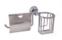 Держатель для туалетной бумаги с крышкой + освежитель(латунь/хром)Aviso