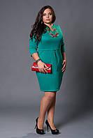 Женское модное платье с модной вышевкой красивого  бирюзового цвета